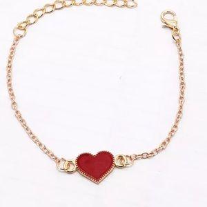Enamel heart bracelet in red NEW